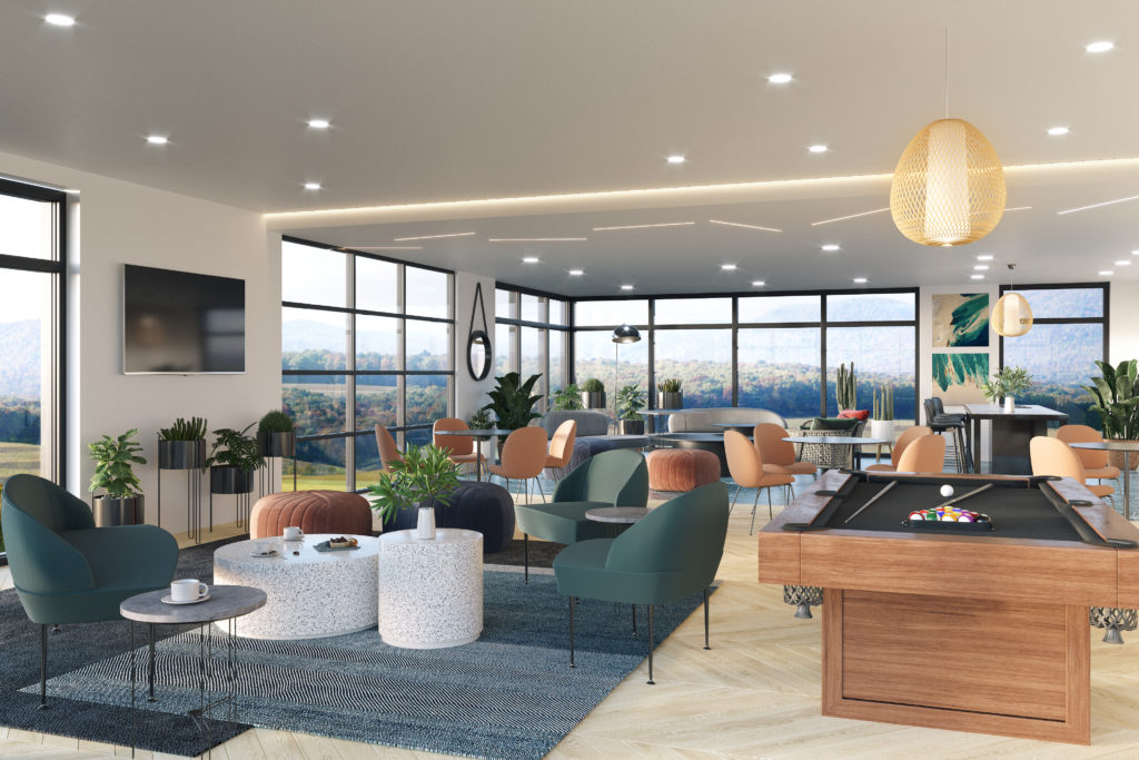 resident lounge with seating and billiards
