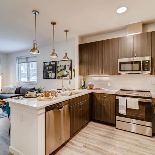 gourmet kitchen at Alexan Diagonal Crossing - Express Your Style