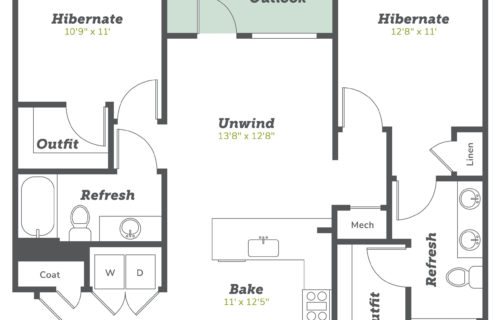 B2 two bed/two bath floorplan - Beautiful Two-Bedroom Apartments in Boulder